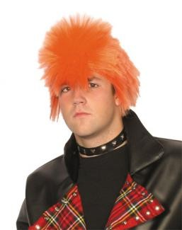 An ideal wig for either a Scotsman , Ziggy Stardust or a Punk ! Orange spiky wig on stretchy base