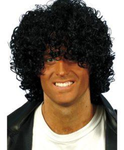 Wig- Black wet-look Afro.