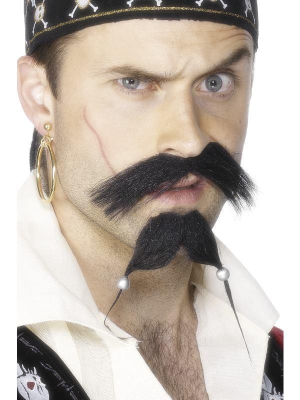 Caribbean pirate tash and beard
