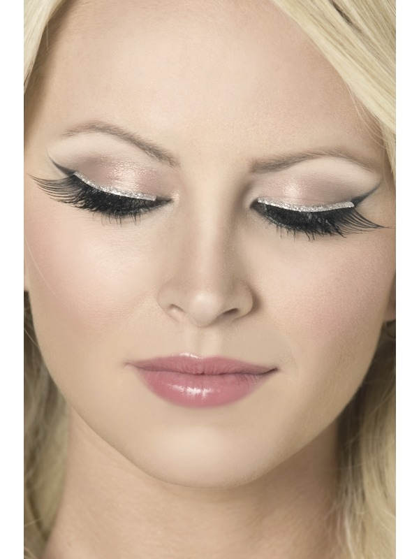 Eyelashes - Black with Silver Glitter