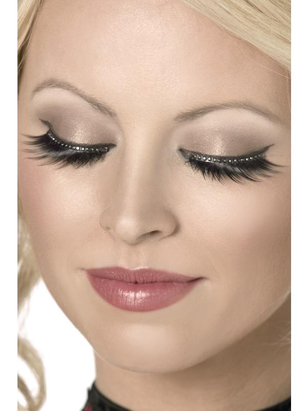 Eyelashes - Black with Crystals