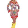 70's Red Print Groovy Dress