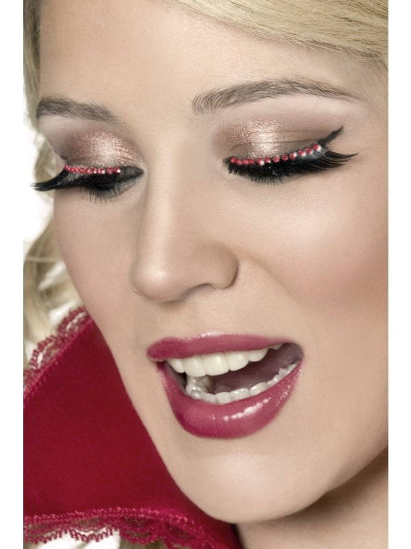 Eyelashes - Black with Red Crystals