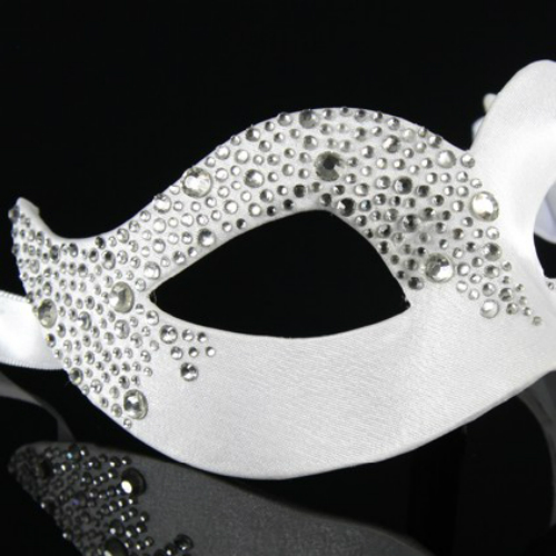 Eye Mask - White Satin with Crystals