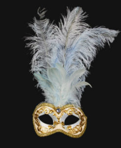 Eye Mask - Light Blue/Gold Feathered