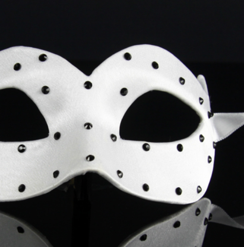 Eye Mask - White Satin with Black Crystals