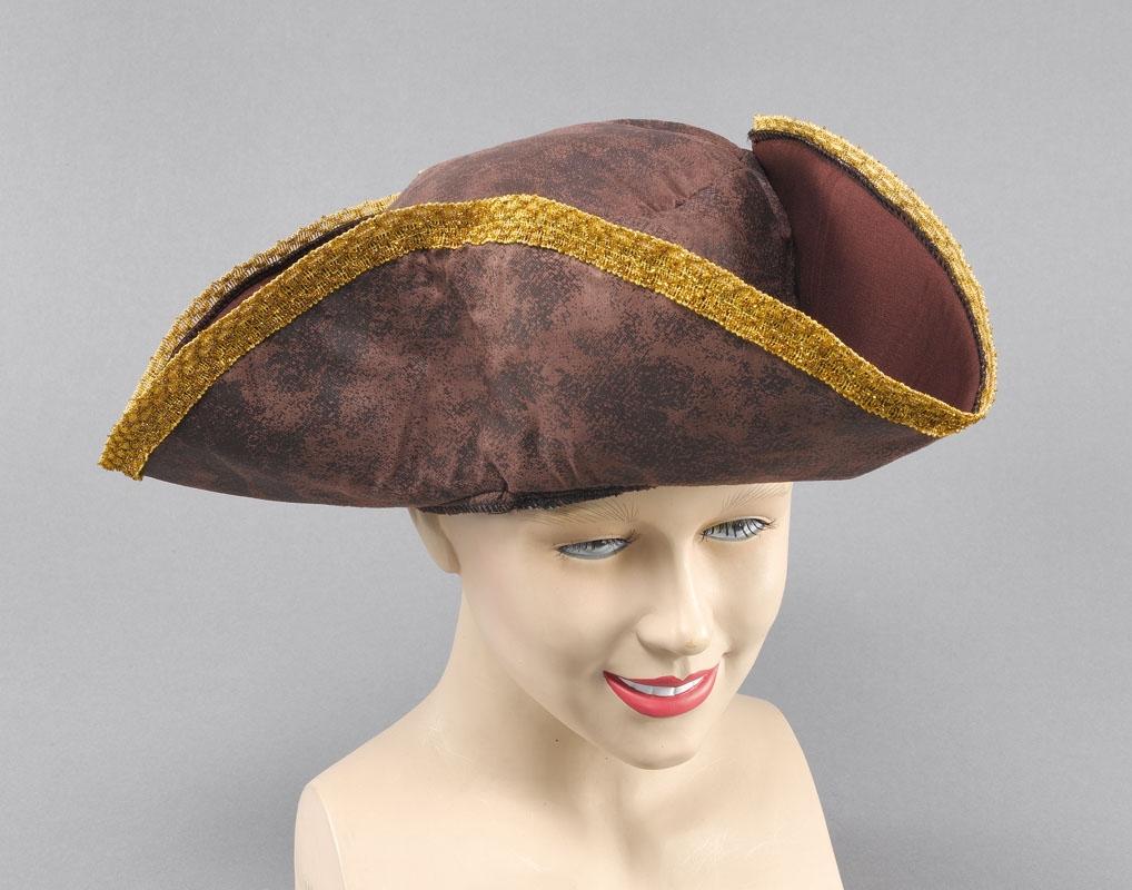 Tri-corn hat brown destressed look